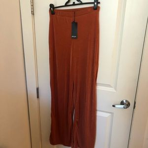 Nasty Gal Pants - Nasty Gal Rust Slinky Wide Leg Pants